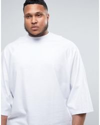 ASOS - Plus Super Oversized T-shirt With Wide Batwing Short Sleeves In White for Men - Lyst