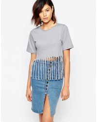 Good Vibes, Bad Daze - Gray Good Vibes Bad Daze Jersey Top With Fringing - Lyst