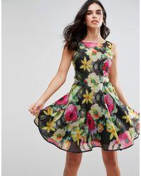 Lyst - Ax Paris Floral Print Chiffono Skater Dress in Black d6b46161b