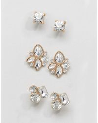 ALDO - Metallic Gem Cluster Multpack Earrings - Lyst