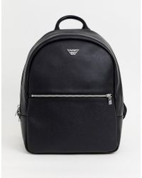 Emporio Armani Black Logo Plaque Backpack for men