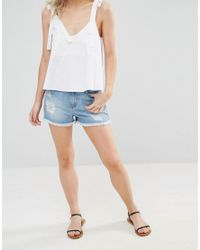 Vero Moda Blue Distressed Denim Shorts