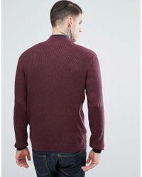 Ben Sherman - Red Zipped High Neck Jumper for Men - Lyst