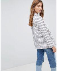 Bershka White Stripe Tailored Blazer