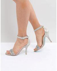 Betsey Johnson - Metallic Blue By Betsy Johnson Silver Embellished Heeled Wedding Sandals - Lyst