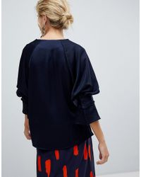 Y.A.S Blue V-neck Top With Volume Sleeve