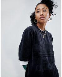 Adidas Originals - Velour Oversized T-shirt In Black - Lyst