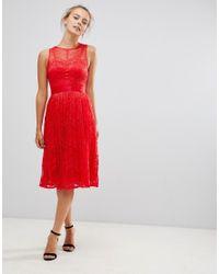 Little Mistress Red Lace Bridesmaid Midi Dress