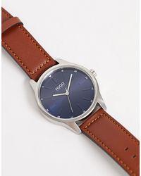 HUGO – 1530029 Dare – Armbanduhr aus braunem Leder in Brown für Herren