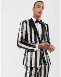 Veste de smoking ajustée avec rayures à sequins - Noir et crème ASOS pour homme en coloris Black
