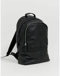 Черный Кожаный Рюкзак С Двумя Молниями ASOS для него, цвет: Black