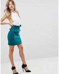 ASOS - Blue Mini Scuba Skirt With 80s Belt Detail - Lyst