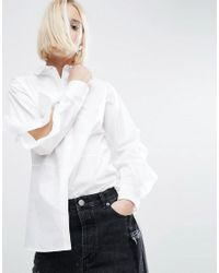 ASOS White Cotton Shirt With Open Ruffle Sleeve