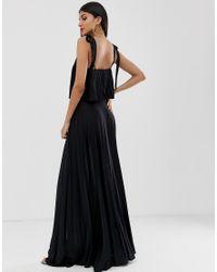 ASOS DESIGN Tall - Robe longue plissée avec liens sur les épaules et haut court ASOS en coloris Black