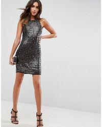 ASOS Black Premium All Over Embellished Mini Dress