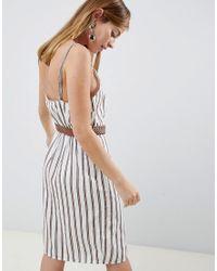 River Island Multicolor Cami Dress With Button Through In Cream & Tan Stripe