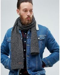 Ted Baker Gray Kapok Scarf In Cable Knit for men