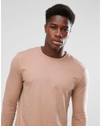 ASOS DESIGN - Natural Longline Long Sleeve T-shirt With Crew Neck In Beige for Men - Lyst