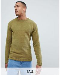 D-Struct TALL – Oversize-Pullover mit Rundhalsausschnitt in Green für Herren