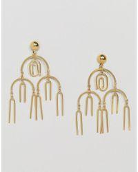 ASOS Metallic Statement Asbtract Shape Chandelier Earrings
