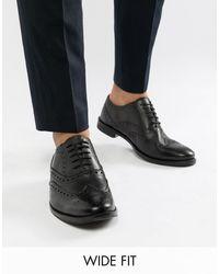 Черные Кожаные Броги Для Широкой Стопы ASOS для него, цвет: Black