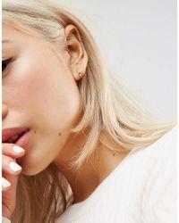 ASOS - Metallic Gold Plated Sterling Silver Fine Crystal Hinged Hoop Earrings - Lyst