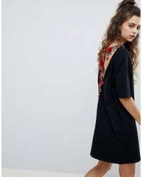 ASOS Black Asos T-shirt Dress With Rose Embroidery