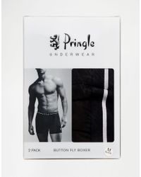 Pringle of Scotland | Button Fly Boxer Trunks In 2 Pack Black for Men | Lyst