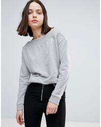 TWIIN Gray Signal Off Shoulder Sweatshirt