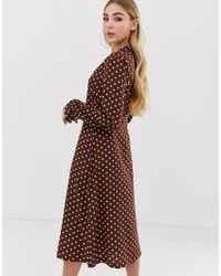 PRETTYLITTLETHING Brown Button Up Midi Dress