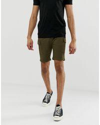 Pantaloncini cargo slim kaki di Brave Soul in Green da Uomo