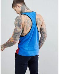 Débardeur à dos nageur prononcé avec encolure contrastée et bande fantaisie - Bleu ASOS pour homme en coloris Blue