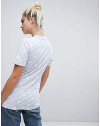 Adidas Originals Trefoil Print T-shirt In Blue