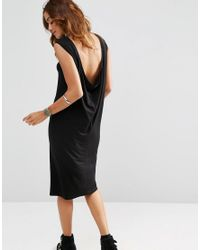 ASOS | Black Sleeveless Midi Dress With Cowl Back | Lyst