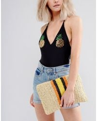 Warehouse - Natural Contrast Stripe Straw Clutch Bag - Lyst