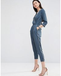 ASOS | Gray Pajama Wrap Jumpsuit With Peg Leg And Contrast Piping | Lyst