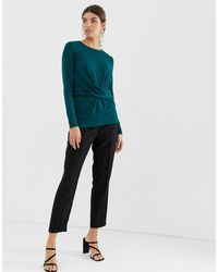 Y.A.S Blue Gathered Long Sleeved Top-green