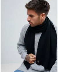 Original Penguin - Black Rib Scarf for Men - Lyst