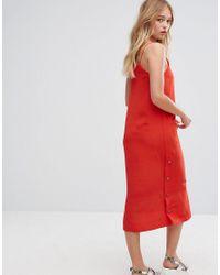 Monki Red Side Popper Slip Dress