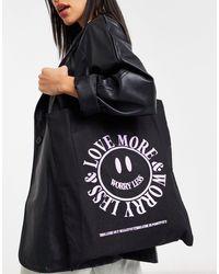 Хлопковая Сумка-шопер С Принтом «love More» ASOS, цвет: Black