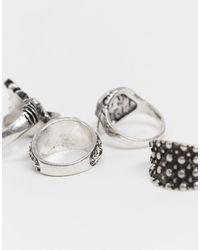Набор Серебристых Колец Inspired-серебряный Reclaimed (vintage) для него, цвет: Metallic