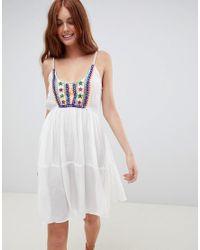 Пляжное Платье На Бретельках С Вышивкой South Beach, цвет: White