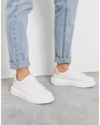 Pull&Bear White Flatform Sneakers With Nude Back Tab