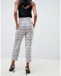 Pantalones tapered de sastre a cuadros grises con anilla en forma de D de ASOS de color Multicolor