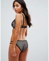Wolf & Whistle - Black Lace Applique Fishnet Bikini Top B/c - E/f - Lyst