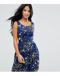 Yumi' - Blue Belted Skater Dress In Butterfly Print - Lyst