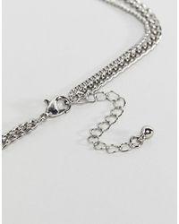 ASOS - Metallic Double Layer Necklace With Arrow Pendant - Lyst