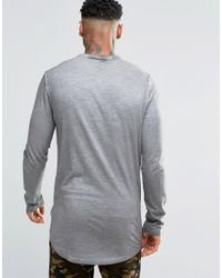 ASOS - Gray Extreme Muscle Long Sleeve T-shirt With Roll Neck In Grey for Men - Lyst