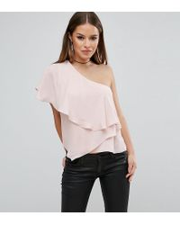 ASOS Pink One Shoulder Tiered Top