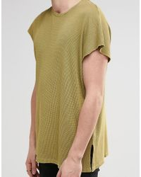 ASOS - Green Oversized T-shirt In Waffle With Acid Wash And Side Splits for Men - Lyst